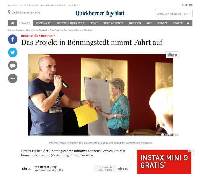 Quickborner Tageblatt vom 29.04.2019