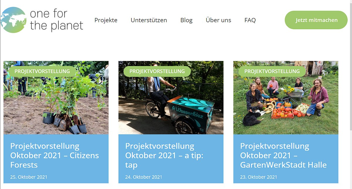 Pflanzaktion auf One for the planet